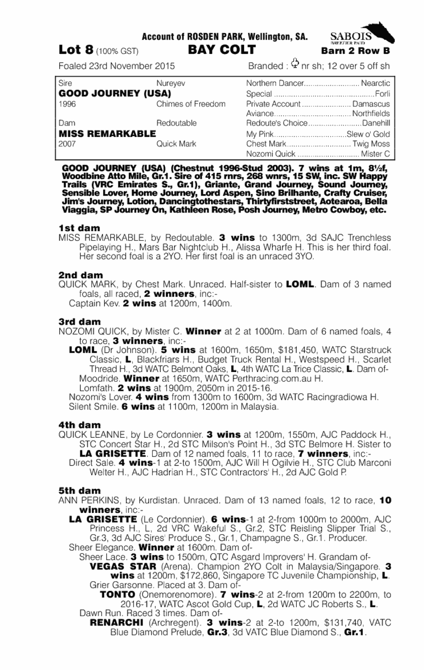 Good Journey (USA) / Miss Remarkable (AUS) - pedigree
