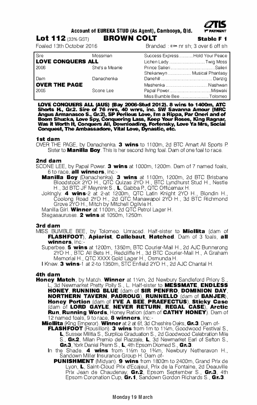 Love Conquers All (AUS) / Over The Page (AUS) - pedigree