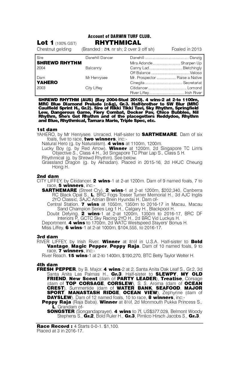 Rhythmical (AUS) - pedigree