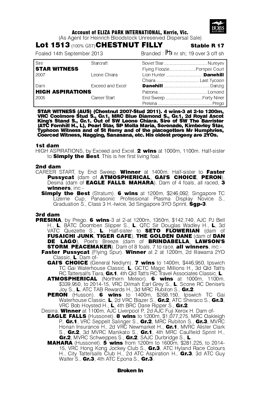 Star Aspiration (AUS) - pedigree