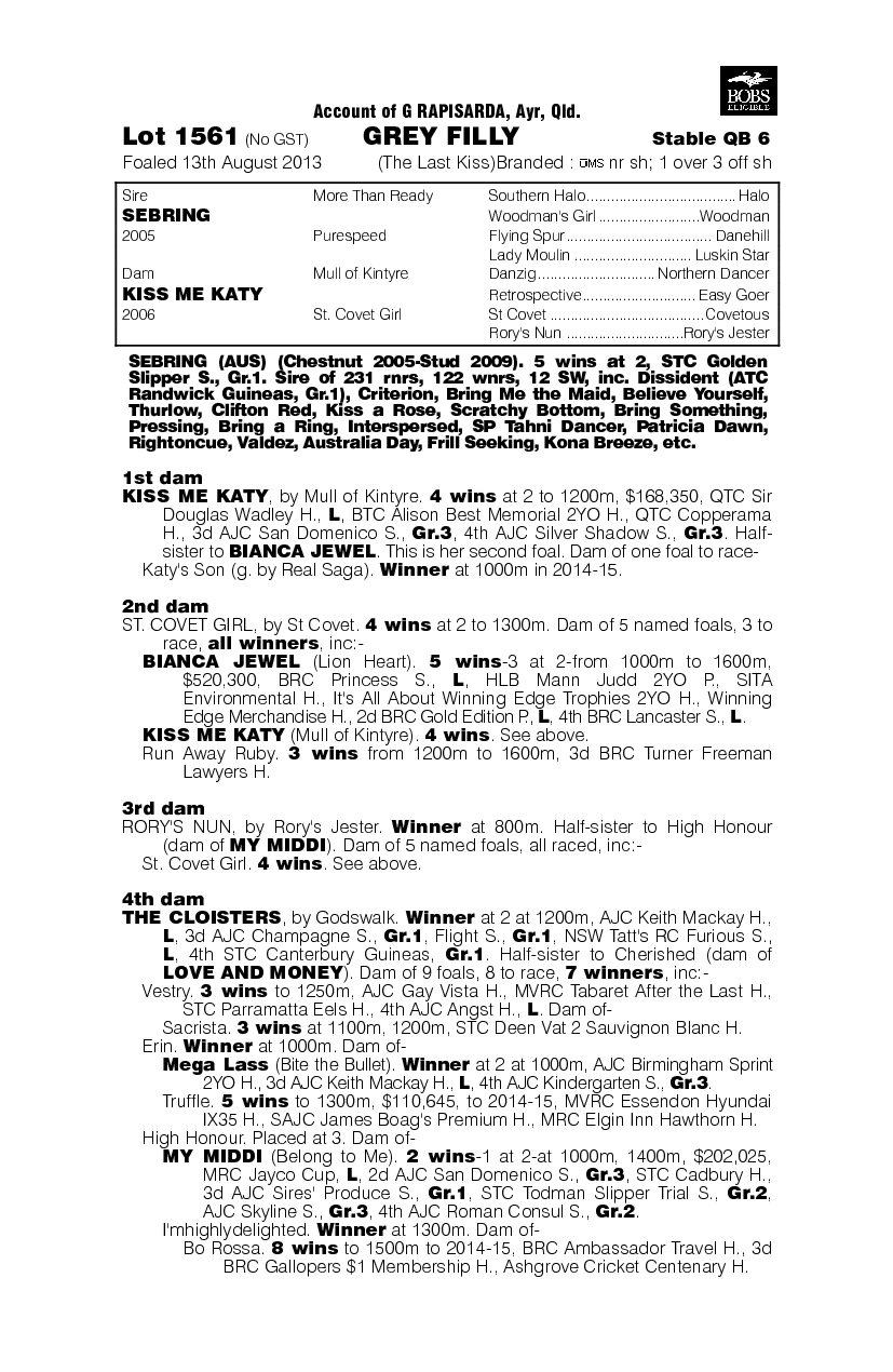 The Last Kiss (AUS) - pedigree