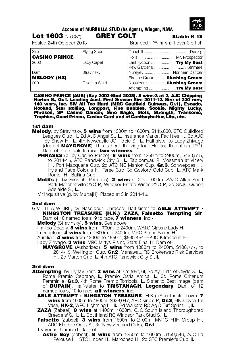 Casino Prince (AUS) / Melody (NZ) - pedigree