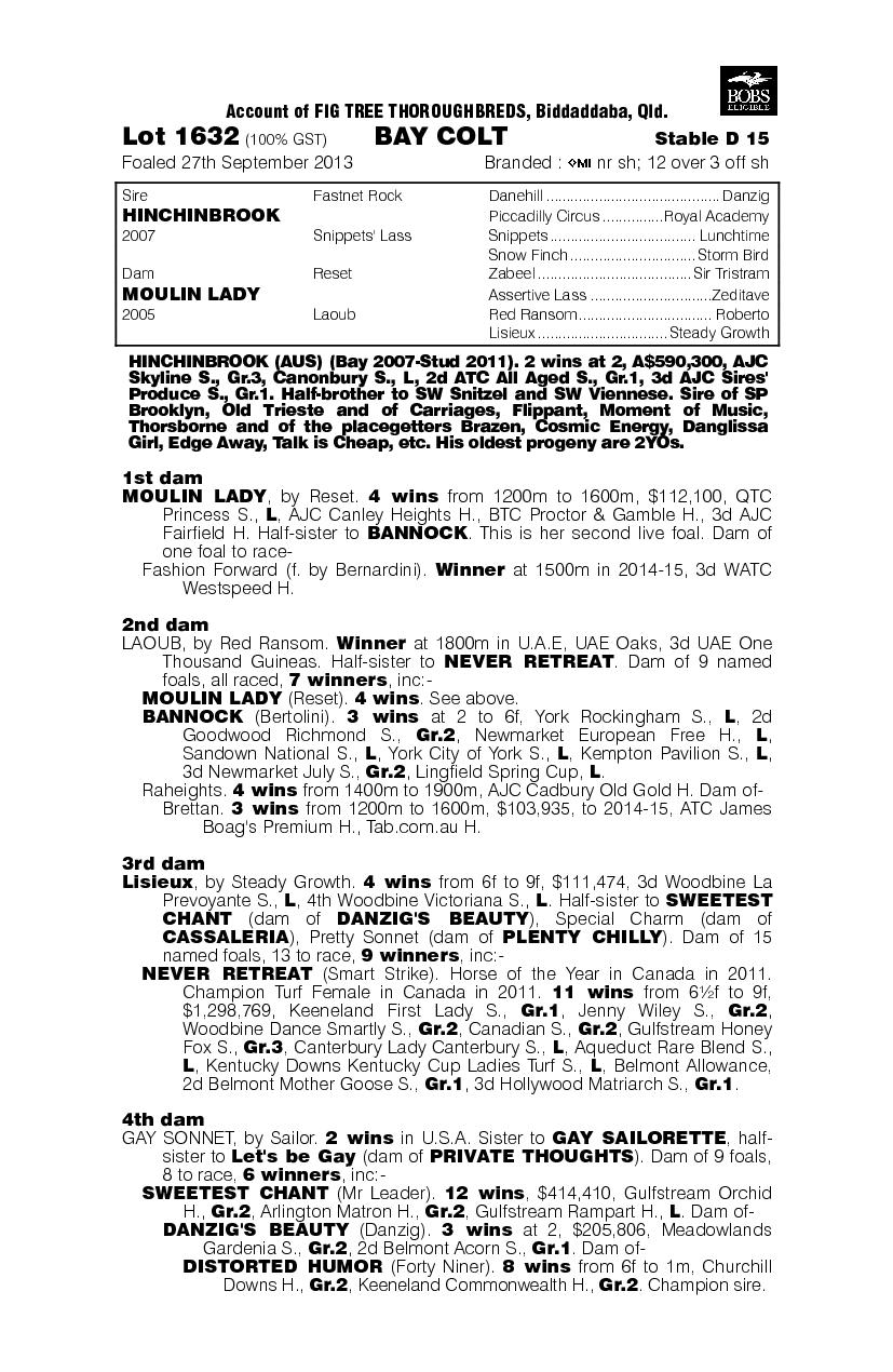 Hinchinbrook (AUS) / Moulin Lady (AUS) - pedigree