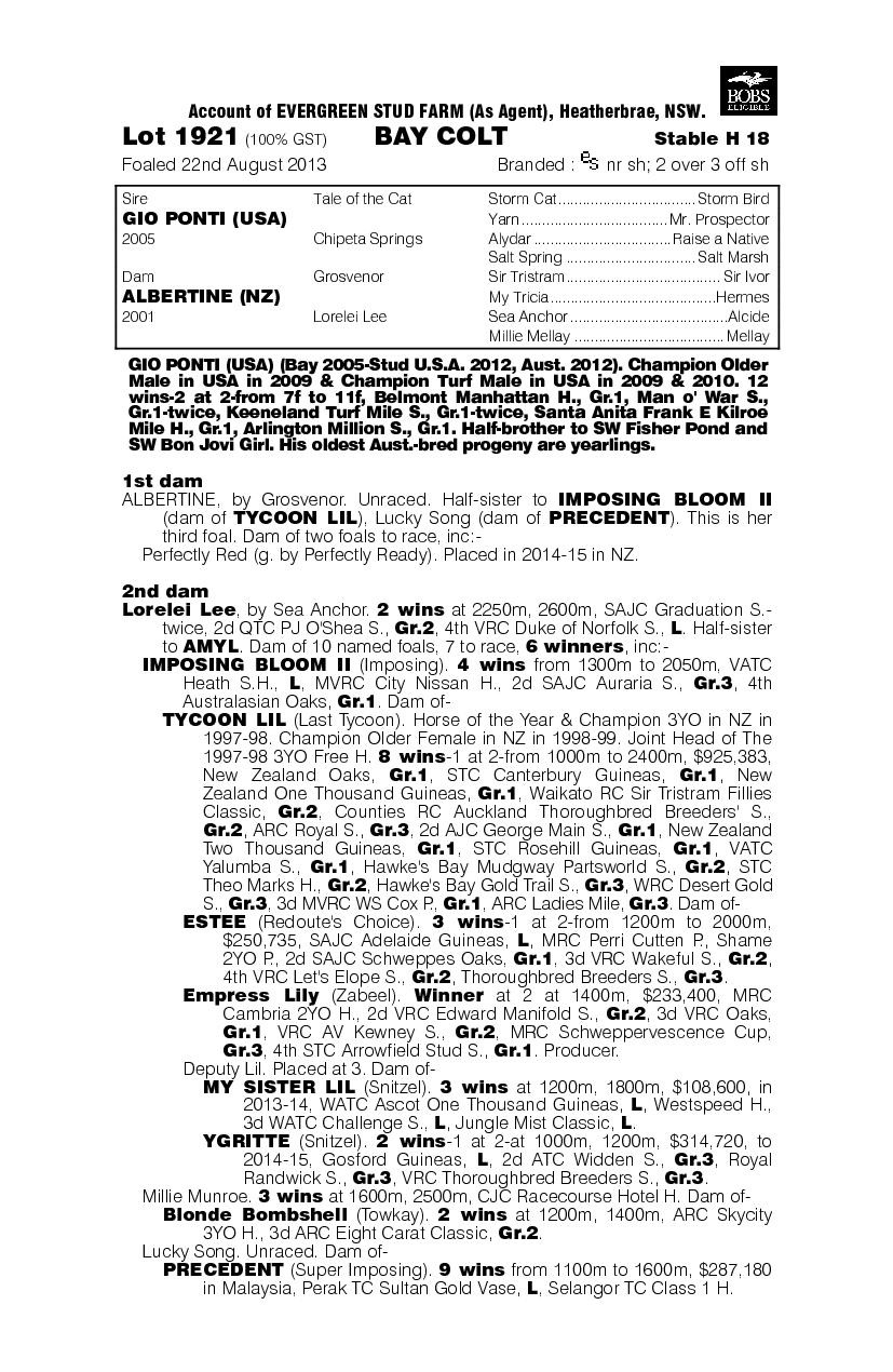 Gio Ponti (USA) / Albertine (NZ) - pedigree