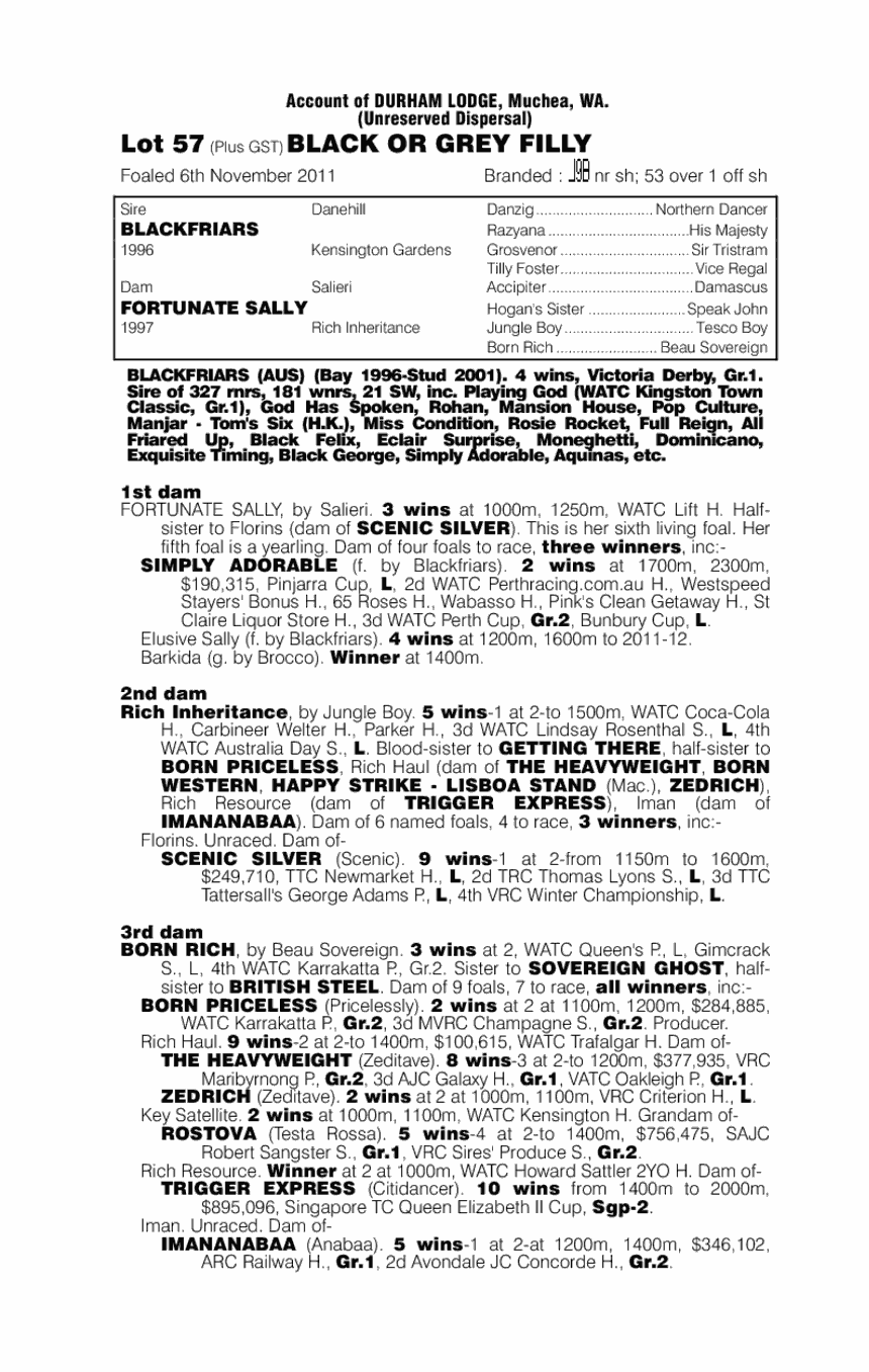 Fortunate Lassie (AUS) - pedigree