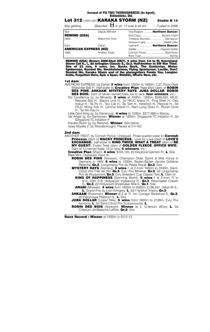 Karaka Storm (NZ) - pedigree