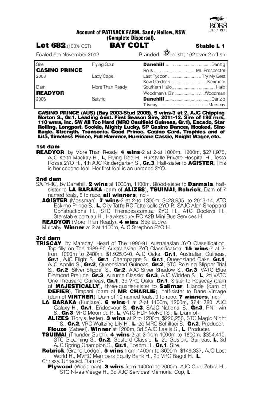 Bellagio Prince (AUS) - pedigree
