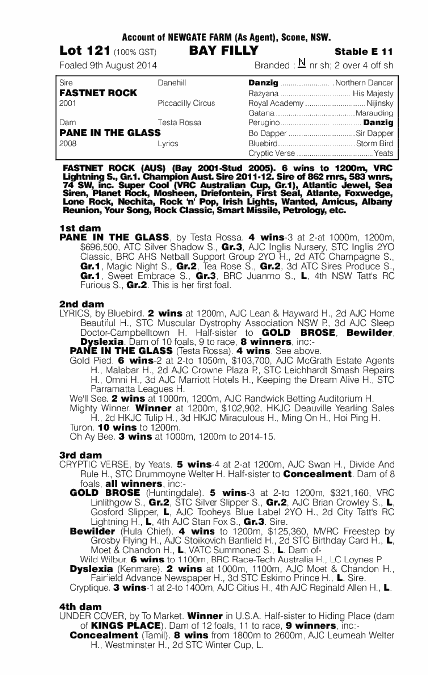 Fastnet Rock (AUS) / Pane in the Glass (AUS) - pedigree