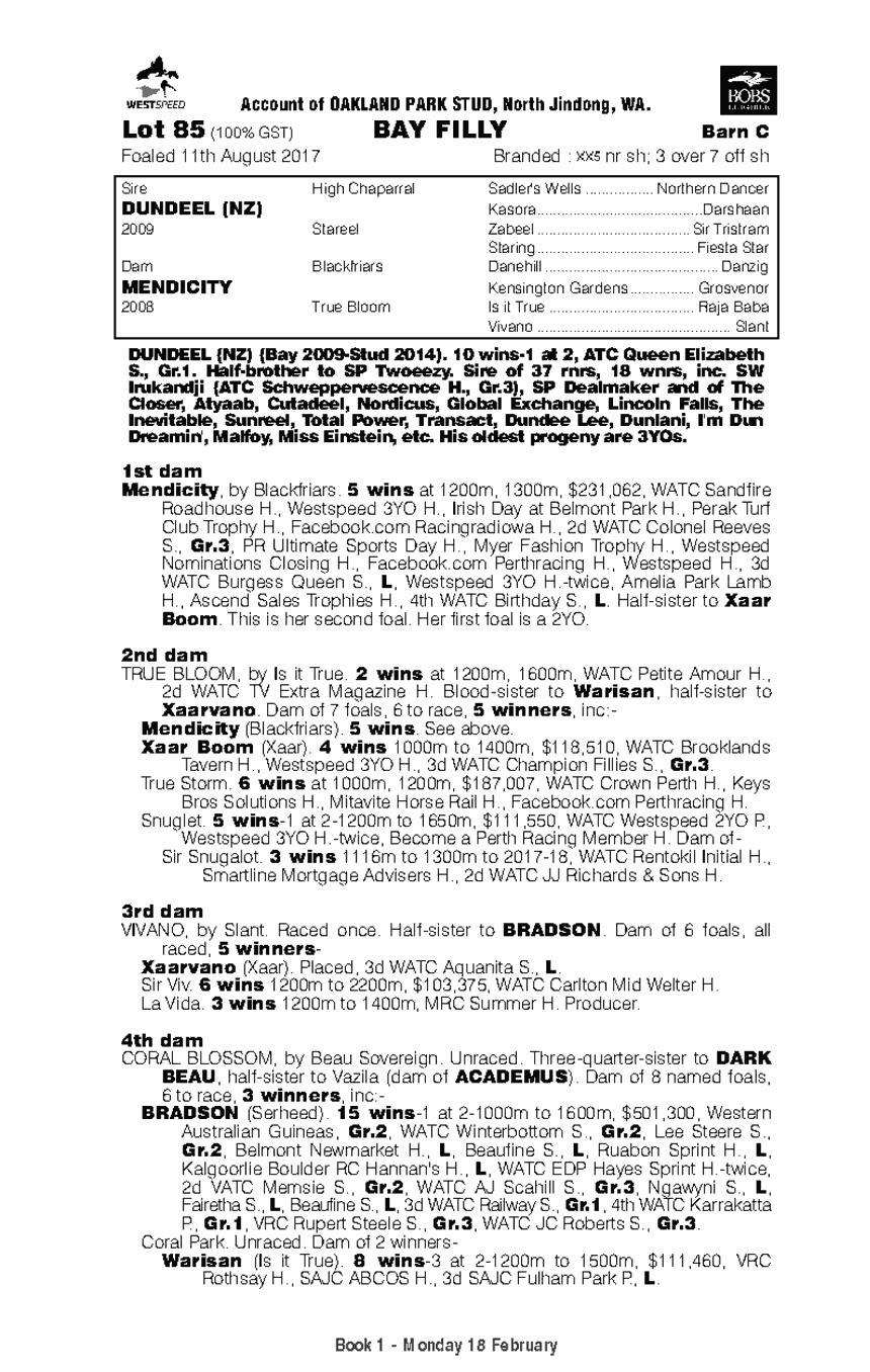 Dundeel (NZ) / Mendicity (AUS) - pedigree
